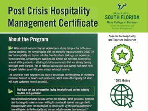 CURSO: Certificado de Gestión de Hospitalidad Post Crisis de la Universidad del Sur de la Florida